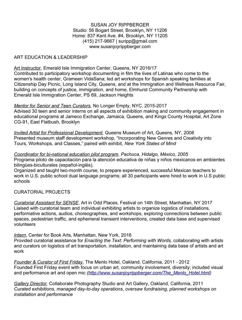Résumé & Curriculum Vitae - Susan Joy Rippberger